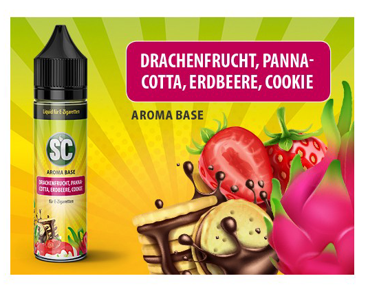 Vape Base - Drachenfrucht, Pannacotta, Erdbeere, Cookie 0mg/ml 50ml